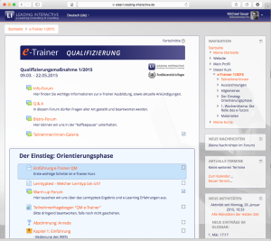 e-Trainer 2015 Screenshot Moodle Lernplattform